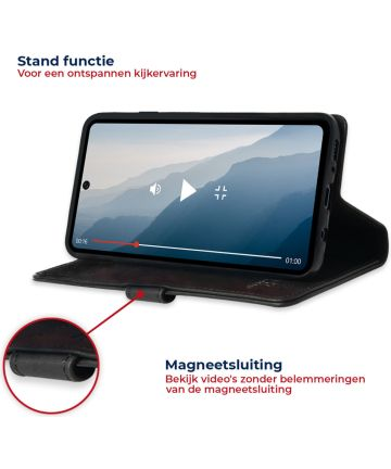 Rosso Deluxe Samsung Galaxy A71 Hoesje Echt Leer Book Case Zwart