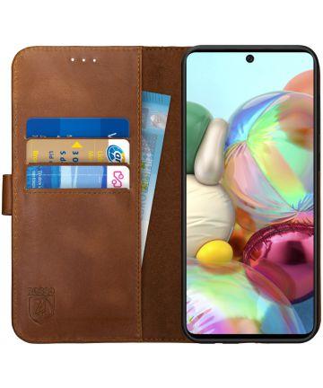 Rosso Deluxe Samsung Galaxy A51 Hoesje Echt Leer Book Case Bruin Hoesjes