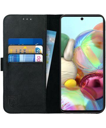 Rosso Deluxe Samsung Galaxy A51 Hoesje Echt Leer Book Case Zwart