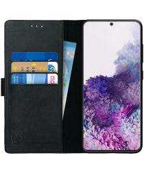 Rosso Deluxe Samsung Galaxy S20 Hoesje Echt Leer Book Case Zwart