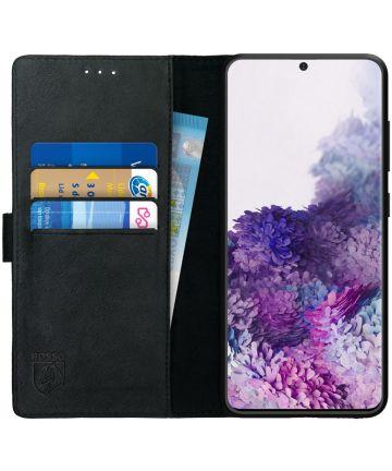 Rosso Deluxe Samsung Galaxy S20 Hoesje Echt Leer Book Case Zwart Hoesjes
