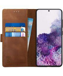 Rosso Deluxe Samsung Galaxy S20 Hoesje Echt Leer Book Case Bruin