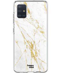 HappyCase Samsung Galaxy A51 Hoesje Flexibel TPU Wit Marmer Print