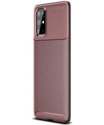 Samsung Galaxy S20 Plus Hoesje Geborsteld Carbon Bruin