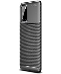 Samsung Galaxy S20 Hoesje Geborsteld Carbon Flexibele Back Cover Zwart