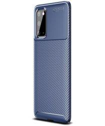 Samsung Galaxy S20 Hoesje Geborsteld Carbon Blauw