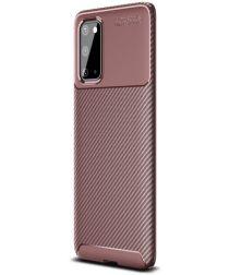 Samsung Galaxy S20 Hoesje Geborsteld Carbon Bruin
