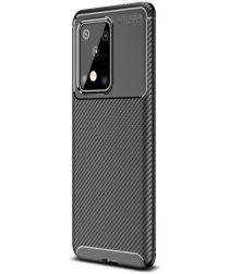 Samsung Galaxy S20 Ultra Hoesje Geborsteld Carbon Zwart