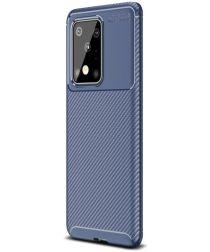 Samsung Galaxy S20 Ultra Hoesje Geborsteld Carbon Blauw