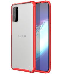 Samsung Galaxy S20 Hoesje Slim Fit Hybride Transparant/Rood