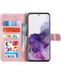 Samsung Galaxy S20 Hoesje Wallet Book Case Voor Pasjes Lines Roze