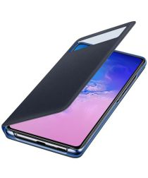 Origineel Samsung Galaxy S10 Lite Hoesje S-View Wallet Cover Zwart