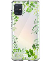 HappyCase Samsung Galaxy A71 Hoesje Flexibel TPU Leaves Print