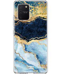 HappyCase Samsung Galaxy S10 Lite Hoesje TPU Blauw Marmer Print