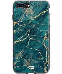 HappyCase Apple iPhone 8 Plus Flexibel TPU Hoesje Aqua Marmer print