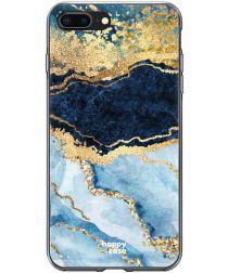 HappyCase Apple iPhone 8 Plus Flexibel TPU Hoesje Blauw Marmer Print