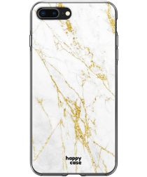 HappyCase Apple iPhone 8 Plus Flexibel TPU Hoesje Wit Marmer Print