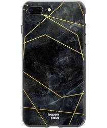HappyCase Apple iPhone 8 Plus Flexibel TPU Hoesje Zwart Marmer Print