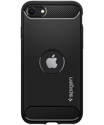 Spigen Rugged Armor Apple iPhone SE (2020) Hoesje Zwart