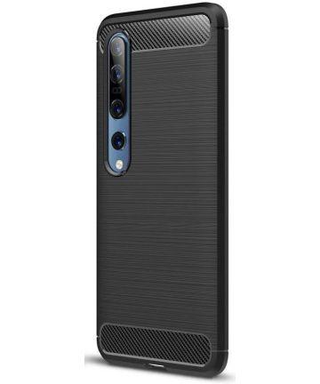 Xiaomi Mi 10 / Mi 10 Pro Hoesje Geborsteld en Flexibel TPU Zwart