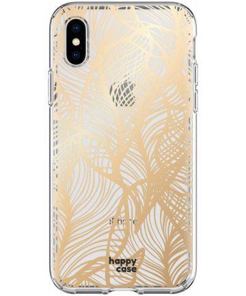 HappyCase Apple iPhone XS Hoesje Flexibel TPU Golden Leaves Print Hoesjes