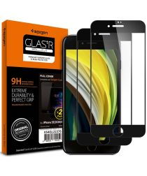 Spigen Tempered Glass Full Cover iPhone 7 / 8 / SE 2020 Zwart (2-Pack)