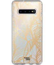 HappyCase Samsung Galaxy S10 Plus Hoesje Flexibel TPU Golden Leaves
