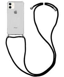 Apple iPhone 11 Hoesje Hybride Back Cover met Koord Zwart