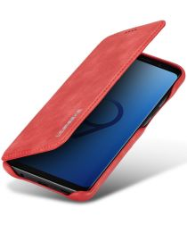 Samsung Galaxy S9 Retro Lederen Bookcase Hoesje met Kaarthouder Rood