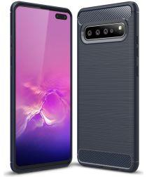 Samsung Galaxy S10 5G Geborsteld TPU Hoesje Blauw