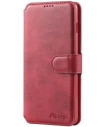 AZNS Samsung Galaxy S10 Portemonnee Hoesje Rood Kunstleer
