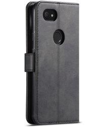 Google Pixel 3A XL Retro Book Case Portemonnee Hoesje Zwart