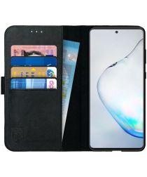Rosso Deluxe Galaxy Note 10 Lite Hoesje Echt Leer Book Case Zwart
