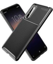Sony Xperia 1 II Hoesje Geborsteld Carbon Zwart