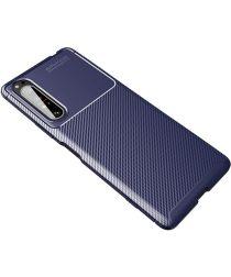 Sony Xperia 1 II Hoesje Geborsteld Carbon Blauw