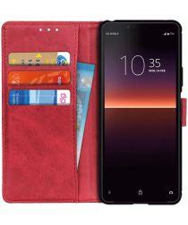 Sony Xperia 10 II Matte Portemonnee Hoesje Rood