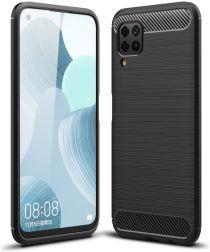 Huawei P40 Lite Geborsteld TPU Hoesje Zwart