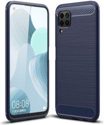 Huawei P40 Lite Geborsteld TPU Hoesje Blauw