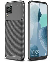 Huawei P40 Lite Geborsteld Carbon Hoesje Zwart