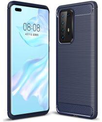 Huawei P40 Pro Geborsteld TPU Hoesje Blauw