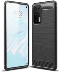 Huawei P40 Geborsteld TPU Hoesje Zwart