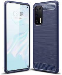 Huawei P40 Geborsteld TPU Hoesje Blauw