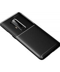 OnePlus 8 Pro Siliconen Carbon Hoesje Zwart