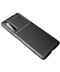 Sony Xperia 1 II Siliconen Carbon Hoesje Zwart