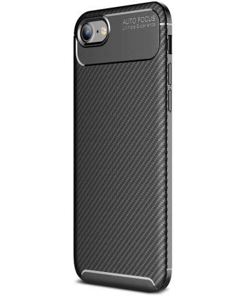 Apple iPhone SE (2020) Hoesje Siliconen Carbon Zwart