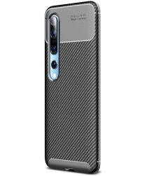 Xiaomi Mi 10 (Pro) Siliconen Carbon Hoesje Zwart