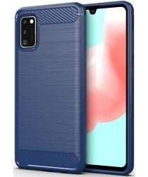 Samsung Galaxy A41 Geborsteld TPU Hoesje Blauw