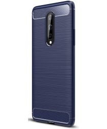 OnePlus 8 Hoesje Geborsteld TPU Flexibele Back Cover Blauw