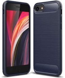 Apple iPhone SE (2020) Hoesje Geborsteld TPU Flexibel Blauw