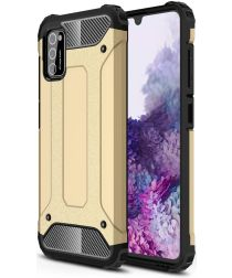 Samsung Galaxy A41 Hoesje Shock Proof Hybride Back Cover Goud